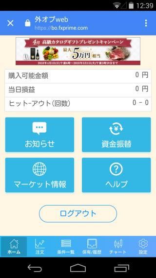 FXプライムbyGMO[選べる外為オプション]のAndroidチャート画面